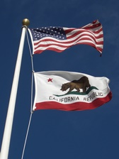 American and California Flag